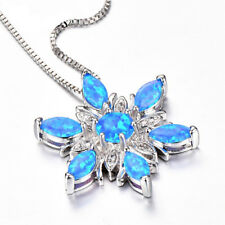 Women Ladies Star of David Blue Turquoise Fire Opal Pendant Necklace Jewelry QK