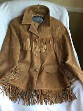 Marlboro Gear FRINGE Indian JACKET Suede Leather Cowgirl Hippie BOHO S, Chestnut