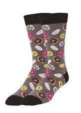 K.Bell Men's Pair Socks Sugar Donuts Cotton Blend Mens Charcaol Gray Socks New