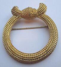 broche passe foulard couleur or bijou vintage ronde finement travaillé 2370