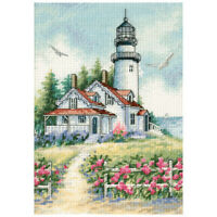"""""""Gold Petite Scenic Lighthouse Counted Cross Stitch Kit-5""""""""X7"""""""" 18 Count"""""""