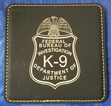 "FBI DOJ Federal Bureau of Investigation K -9 4"" Black Leather Coasters Set of 4"