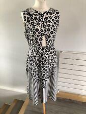 See By Chloe Ladies Black & White 💯 Silk Sleeveless Midi Dress Size UK 10