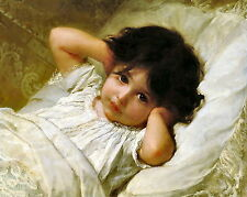 Munier Print c19th Victorian Child Young Girl PORTRAIT MARIE LOUISE at Bedtime