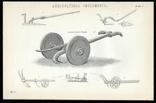 AGRICULTURAL IMPLEMENTS 1883 Ancient Roman Ploughs VICTORIAN LITHOGRAPH #1