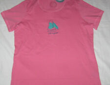 Size S Womens LIFE IS GOOD Sailboat S/S Tee Shirt on Rose Pink NWT
