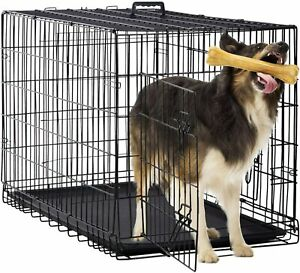 "36"" Dog Crate 2 Door w/Divide Tray/1 Fold Metal Pet Cage Kennel House Black"