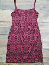 LADIES VINTAGE RIVER ISLAND BLACK & RED STRAPPY BAROQUE PATTERN DRESS SIZE 14