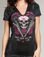 Rebel Saints AFFLICTION Womens T-Shirt QUEEN LORD Tattoo Biker Sinful S-XL $40