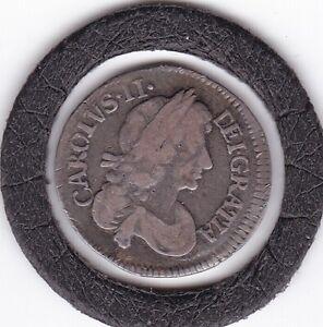 Sharp  1679   King   Charles    II   Three  Pence  (3d)  Coin