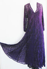 New Holy Clothing Dress Rayon Purple Lace Swing Maxi 3/4 Sleeve Size L/XL