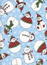 Rolly Polly Snowmen & Snowflakes 1 Fat Quarter 100% cotton fabric quilt quilting