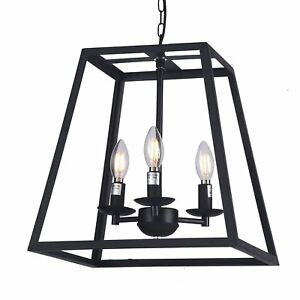 """14"""" Modern Black Metal Square Cage 3-Bulbs Ceiling Cage Chandelier Light Dining"""