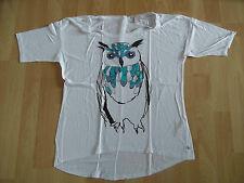 ESPRIT schönes weites Shirt Eule weiß Gr. S NEUw. (KY 614)