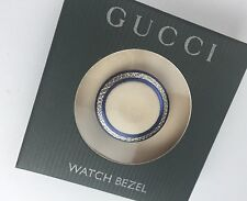 New Authentic GUCCI 1100L 1200L Diamond Cut METAL WATCH Bezel  Navy Blue