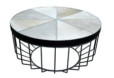 Elegant Grey Hairy Leather Round Centre Table with Strong Powder Coat Iron Base.