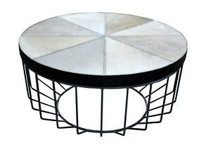 Elegant Grey Hairy Leather Round Centre Table with Strong Powder Coat Iron Base