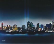 NEW YORK CITY 8X10 PHOTO TWIN TOWERS TWO BEAMS OF LIGHT STATUE OF LIBERTY