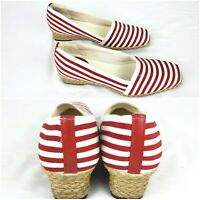 LIFE STRIDE 7M Canvas Red & White Stripe Jute Wedge Square Toe Shoes