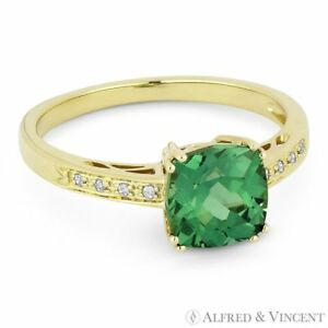 2.17ct Cushion Cut Green Lab Spinel & Round Cut Diamond Ring in 14k Yellow Gold