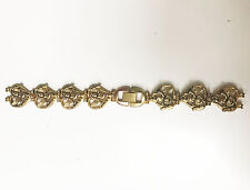 GOLD 11MM CHERUB BUCKLE BAND WITH HEARTS JEWELERS CLASP BRACELET NOS