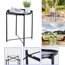 Metal Tray Table Round End Table Sofa Side Table Living Room Bedroom Black