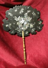 19th Century Fixed Hand Fan Papier Mache & Mother of Pearl