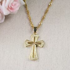 18K Gold Filled Crucifix Cross with Crystals Necklace & Pendant