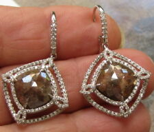18KT WHITE GOLD NATURAL SLICE DIAMOND EARRINGS 8.29 CARATS  BY  LEGACY DESIGNS