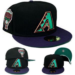 New Era Arizona Diamondbacks Fitted Hat MLB 1998 Inaugural Black Purple Aqua Cap