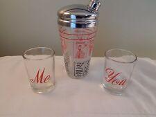 Vintage Hazel Atlas Cocktail Mixer Shaker 2 Glasses You & Me Glass Salud Skol