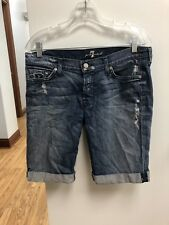 7 Seven For All Mankind Jeans Bermuda Shorts Women's Size 28 Distressed Look