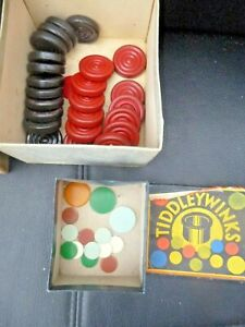 vintage set of 12 red and 12 black tin  draught pieces plus tiddly wink pieces
