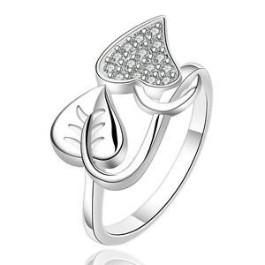 SALE Silver Plated 925 Flower Crystal CZ Cocktail Statement Ring Size Q / 8 1217