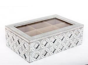 Grey Geometric Tea Box Mirrored Tiles Tea Bag Storage Organiser with Lid