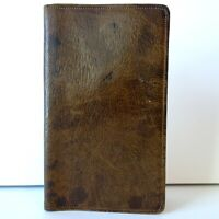 Vtg No. 66 Water Buffalo Brown Distressed Leather Bifold Checkbook Wallet