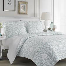 3 Piece Reversible Quilt Set King Size Blue Aqua Floral Bedspread Coverlet Girls