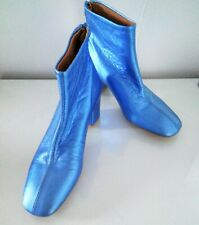 NEW Womens Metallic Blue Ankle Boots Chunky 2 in heel Size 5 European Size 38
