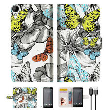 Butterfly Garden Wallet TPU Case Cover For HTC Desire 825 -- A018