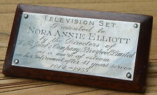 W & R JACOB BISCUITS Employee AWARD Plaque 1955 T.V. 41 yrs Nora Annie Elliott