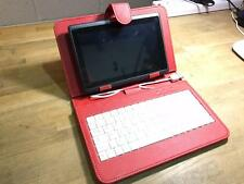 "Red USB Keyboard Leather Case/Stand for 7"" Coby Kyros Android Tablet PC"