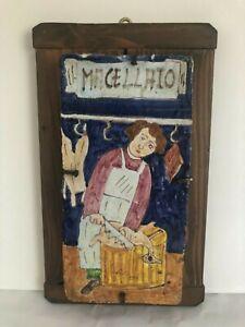 Vintage Porcelain Art from Deruta, Italy, Handmade ''Il Macellaio''-Single Piece