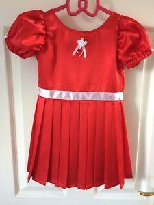 Handmade Girls Satin Pleated Red Dress Age 3-4 years Ribbon rose embellishment
