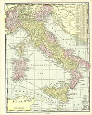 1901 Antique Map of Italy Original George Cram Atlas Italy Map Wall Art 8765