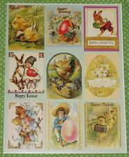 VINTAGE EUREKA PAPER MAGIC EASTER BUNNY~CHICK~EGG VICTORIAN STICKERS SHEET~NEW