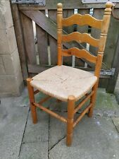 Wood & Wicker Country Retro Vintage kitchen dining chair good solid condition