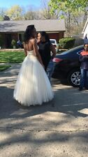 Amelia Couture prom/ ball gown,  champagne with white and silver beading