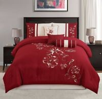 Chezmoi Collection 7pc Embroidered Red Floral Hibiscus Comforter Set, Cal King