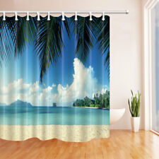 Palm Tree By The Sea Beach Bathroom Shower Curtain Fabric w/12 Hook 71*71inch