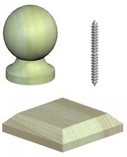 """4"""" Softwood Quality Wooden Ball Fence Post Cap & Base - Green Treated"""